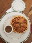 Chicken and waffles ($21++)