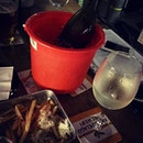 They chill wine in this red pail 😆 it's good that I finally found time to catch up with friends...