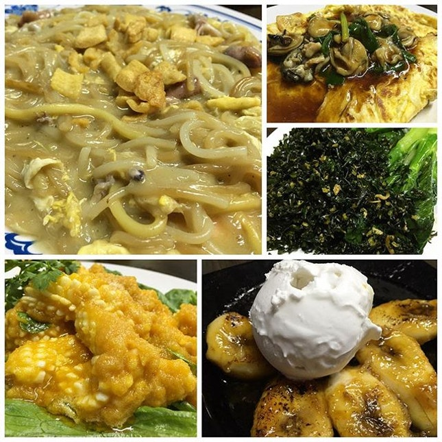 Hokkien Mee special | salted egg squid | oyster omelette | Hong Kong kai Lan special | banana w coconut ice cream #newubinseafood #singapore #sgig #igsg #sgfood #igerssingapore #igerssg #michelinguidesg #bibgourmand #eggs #eggaddict #saltedegg #dessert #sweets #latergram #burpple #instafood