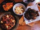 Roasted Chicken, Duck Ragout Pasta & Chicken Waffles