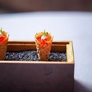 Their classic amuse bouche, tobiko cream.