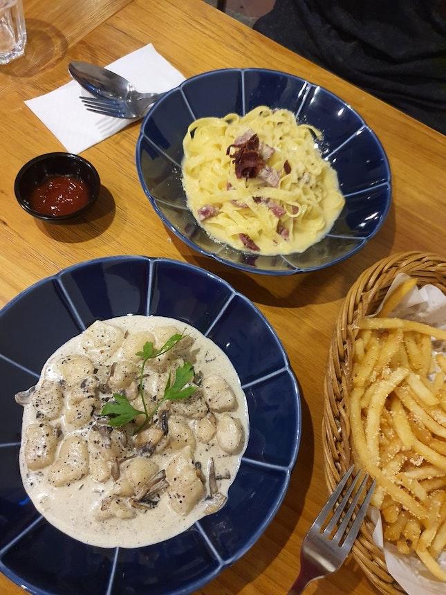 Truffle Gnocchi, Creamy Carbonara & Truffle Fries.
