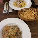 Truffled Mushroom Risotto & Fettuccine Carbonara
