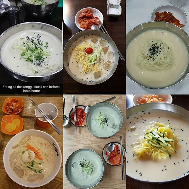 I can't believe i didn't upload a single photo of kongguksu onto instagram so i'm uploading a recently done collage of 6 different ones i have had in korea.