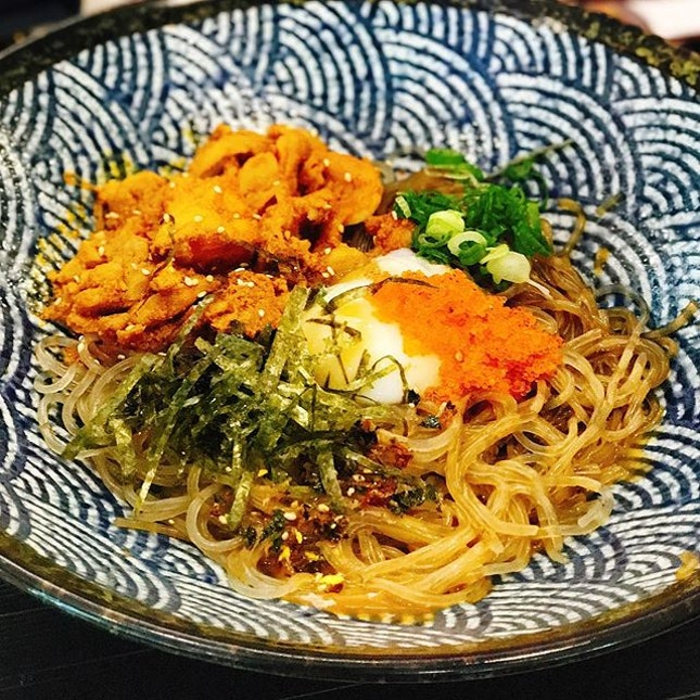 Bird Best [$10.00]  Spicy chicken, Korean Glass Noodle and Onsen Tobiko with Korean BBQ sauce👍🏻 A savoury dish that's both sweet and slightly spicy at the same time.