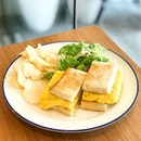 Tamago Sando [S$12.00] ・ Sweet fluffy tamagoyaki sandwiched with kombu mayonnaise, pear jam and toast bread.