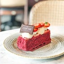 Strawberry Velvet Entremets [S$7.00] ・ Dessert time at @TSB.SG @SwissotelTheStamford Red velvet cake filled with a layer of cream cheese, a coating of strawberry icing at the side and decorated with piped cream cheese.