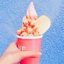 Watermelon Soft serve With Caramel Popcorn