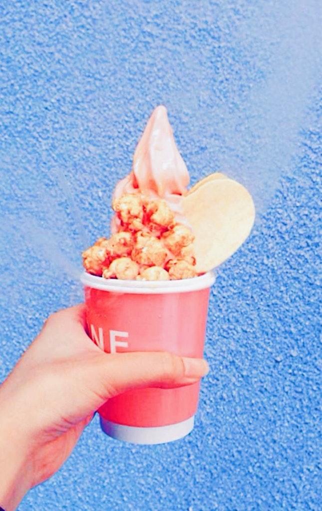 Watermelon Soft serve With Caramel Popcorn