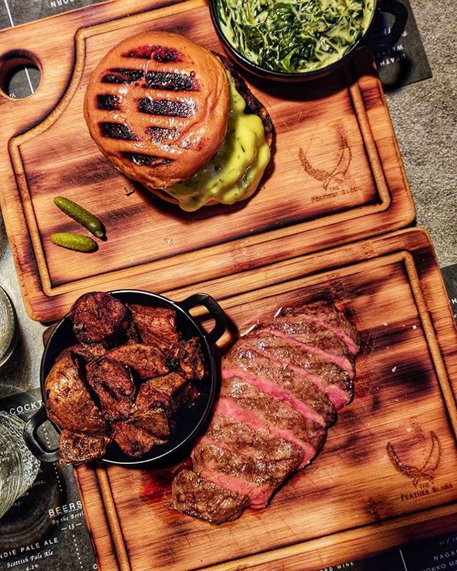 The Feather Blade Steak 🥩 & Burger 🍔 : : #singapore #sg #igsg #sgig #sgfood #sgfoodies #food #foodie #foodies #burpple #burpplesg #foodporn #foodpornsg #instafood #gourmet #foodstagram #yummy #yum #foodphotography #nofilter #dinner #beef #steak #burger #wednesday #sousvide #potato #spinach