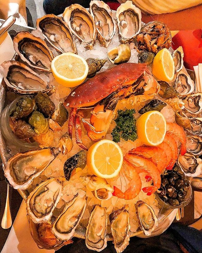 Giant platter of seafood , €92 .