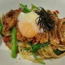 Teriyaki Chicken With Onsen Egg Spaghetti (RM25)