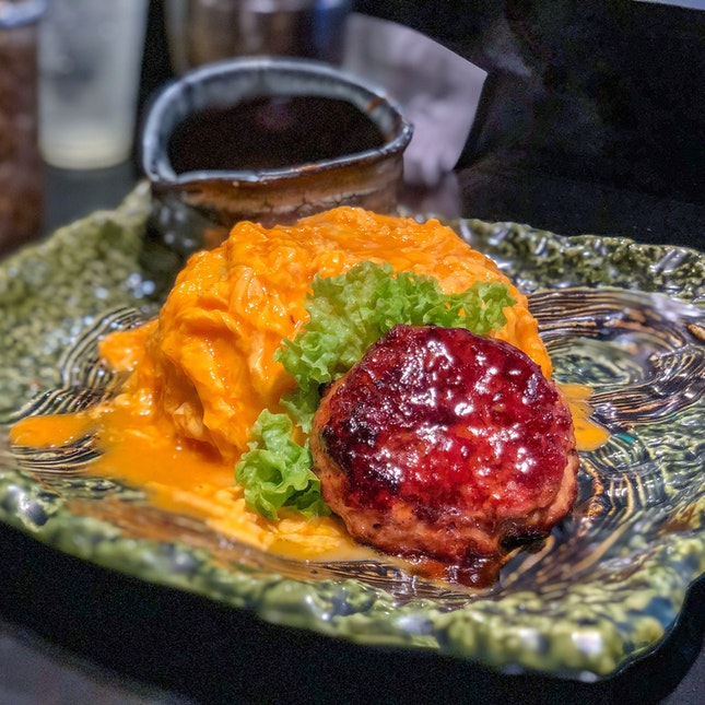 Omurice Set with Demiglace Sauce (add. Chicken Teriyaki Hamburg) [$12.90]