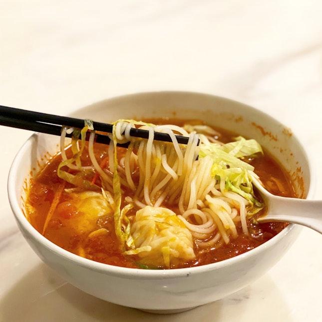 Shrimp & Pork Dumplings Tomato Soup Noodles