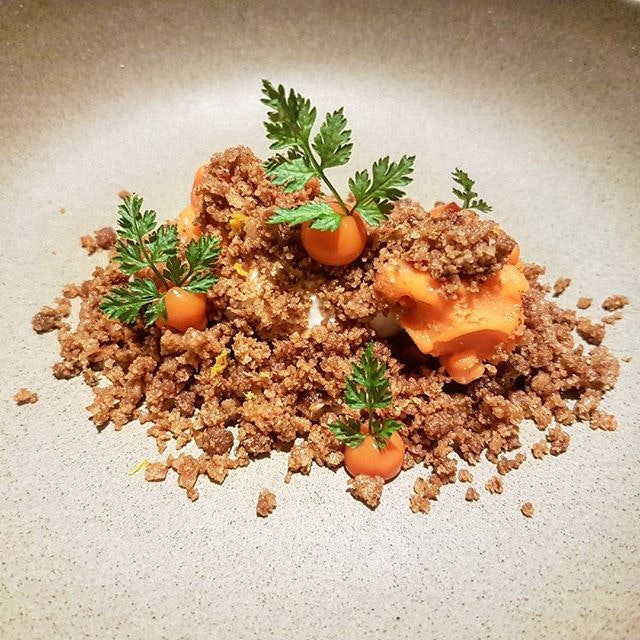 Gateau - Carrot Farm  Carrot, walnut, cream cheese, yoghurt, raisin  This dish really looks like carrots sprouting out of the ground.