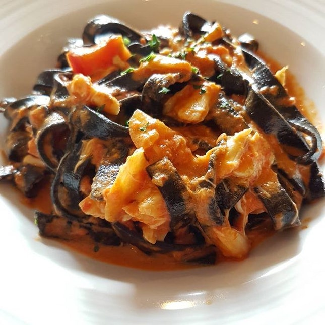 Fettuccine Nere alla Polpa di Granchio  Homemade Squid Ink Pasta with Crabmeat Tossed in Tomato Sauce with a touch of Cream  Is this going to be my new favorite Italian restaurant in SG?