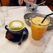 Matcha Latte ($6), Fresh Orange Juice ($6.80)