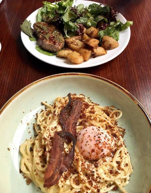Carbonara & Steak