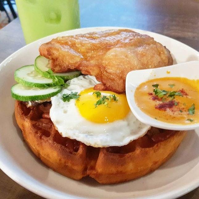 Nasi Lemak waffles  #fatlun #alaneaton #alaneats #burpple # #food #foodiegram #foodie #foodphotography #food #foods  #alanadventures #배고파  #sgdelicious #instafood #foodgasm #waffles #cafehopping #cafe #food #sgfoodie #foodies #makanmakan #nasilemak