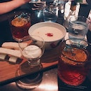 Center: Mr Bean (vodka, soy beancurd, frangelica, butterscotch liqueur, kaya) ; L/R: Negroni L'Chaim (campari, raspberry infused bankes gin, cinzaro rosso vermouth, prosecco) // Chill space and very interesting cocktails.