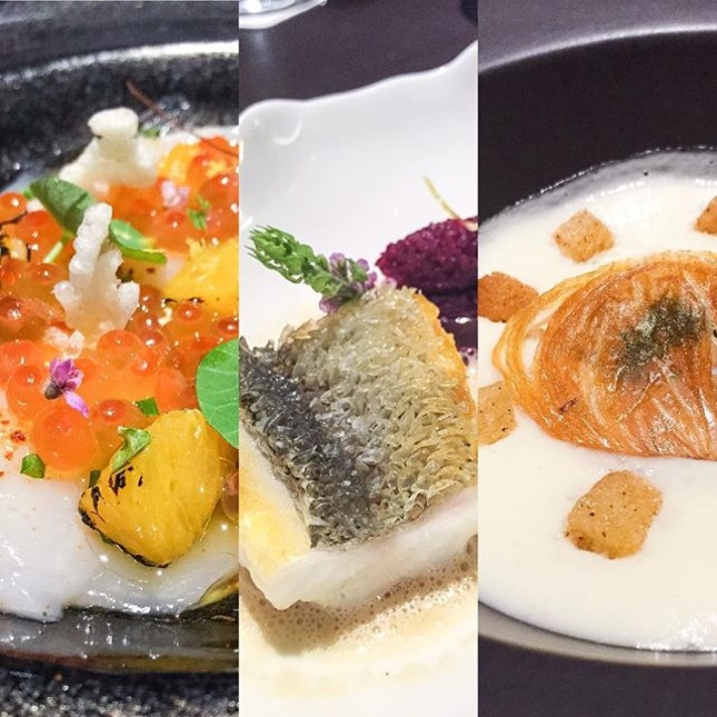 From left: Hokkaido Scallop, New Zealand Cod Crispy Scales and Oignon doux des Cevennes.