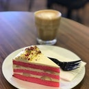 Rose Lychee Cake and Latte  The texture of the cake is abit strange as we have the fluffy chiffon texture combine with frozen lychee in between the layers🤔.