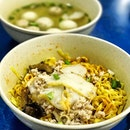 Mince Pork Noodles (chun fu) Order large bowl and didn't expect they come with another huge bowl of fish/meat ball!