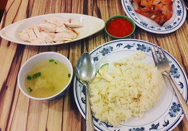 Halal Chicken Rice - roast and steamed versions.
