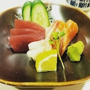 theSashimi Moriawase(assorted raw fish) was served - there was swordfish, tuna, salmon and shrimp.
