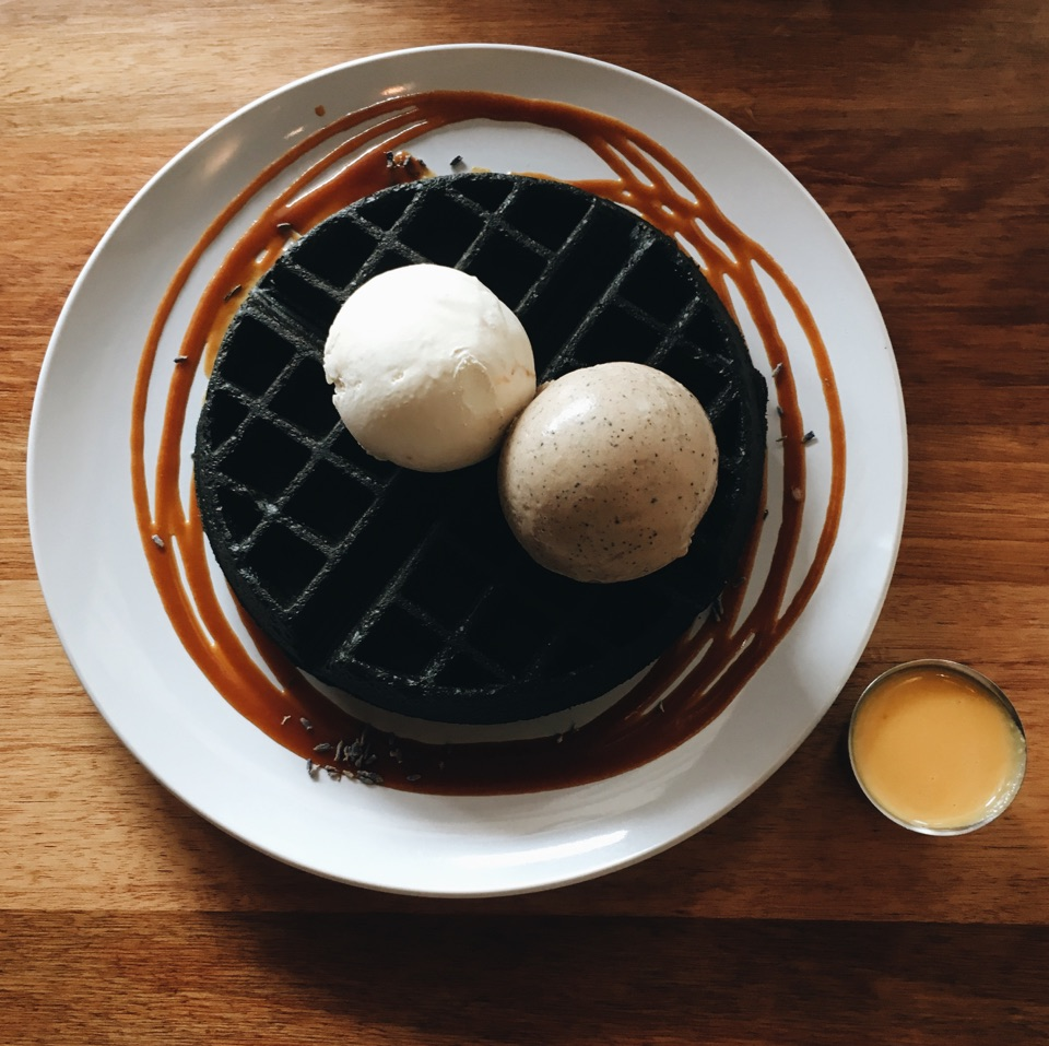A Decently Served Charcoal Waffle With Gourmet Ice Cream Selections!