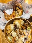 Half grilled chicken ($11.90), Chicken Taca Bowl ($9.90)