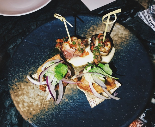 Grilled Octopus & Lima Bean, Olive's Chimichurri With Pork Belly, Boniato, Avocado & Criolla