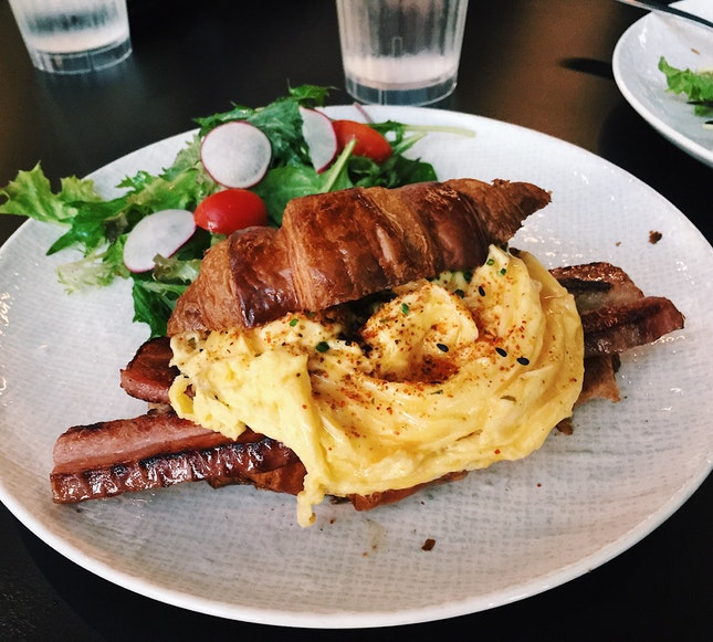 Signature Scramble with Glazed Bacon Chop