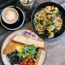 Prawn Pesto Spaghetti & Papa's Breakfast