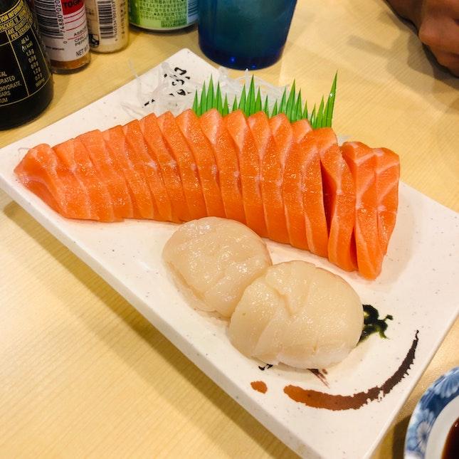 Fresh Sashimi Salmon And Scallops.