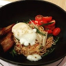 Pork belly bibim guksu S$15.90  Pork belly braised with a mirin glaze.