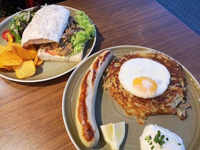 Rosti with veal sausage ($14.50 1 for 1 with #burpplebeyond).