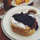 Order the Blueberries Pancakes ($19++) that comes with three American-style pancakes stacked upon one another, dressed with icing sugar and tart-sweet blueberry jam on top (See that handful of blueberries sitting in the jam).
