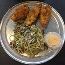 Battered Fish with Aglio Olio