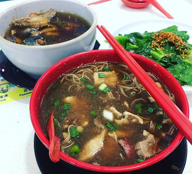 Black chicken soup $15, pork meat, liver and kidney mee sua soup $5, and vegetable $8.