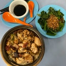 Mixed Claypot Rice ($12) And Oyster Veg ($3)