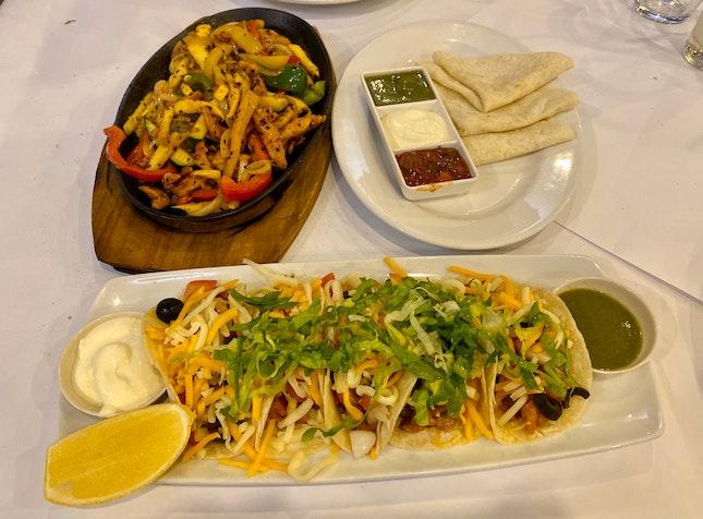 Chicken Fajitas ($25), Chicken Tacos ($5)
