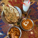 Butter Chicken, Aloo Gobi, Garlic Naan, Sweet&Salty Lassi