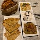 Trio Dip - Hummus, Taramasalata, Melitzanosalata ($30.8) + Grilled Pita ($3.9) + Crispy Pita ($3.9)