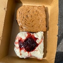 Nut Butter + Honey + Sea Salt Toast ; Sage Cream Cheese + Berry Compote Toast ($5 each)