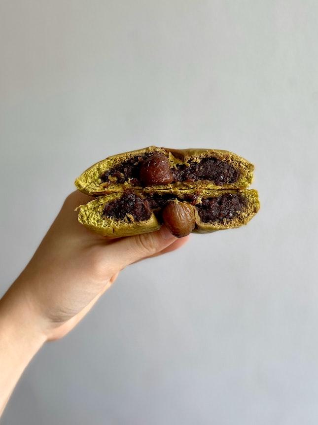 Matcha Chestnut Red Bean Bun