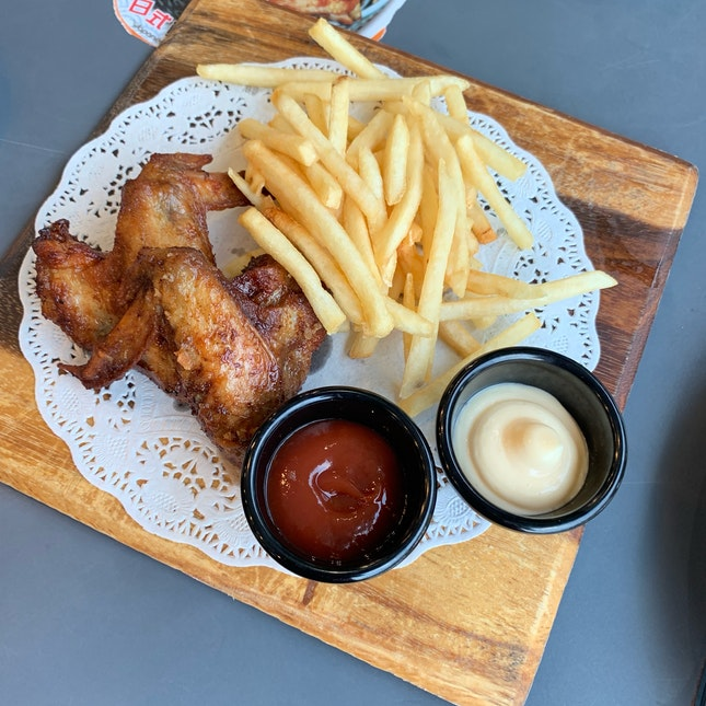 Chicken Wings with French Fries