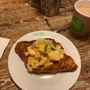 Croissant Egg Sandwich & Coffee