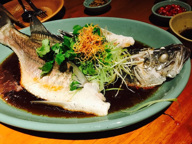 Steamed Seabass In Superior Soy Sauce