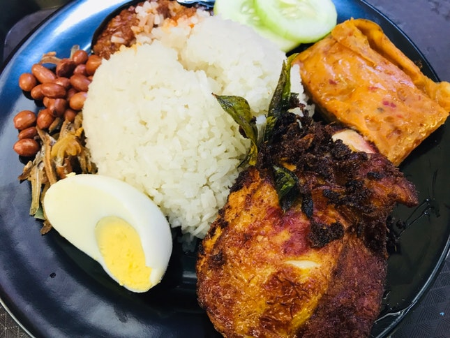 Nasi Lemak With Spiced Chicken